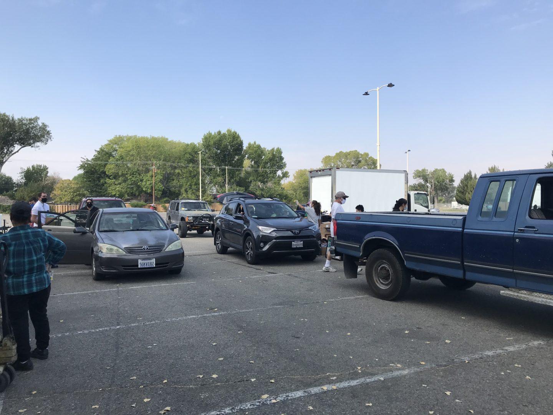 Car line at food drive-thru